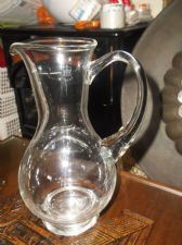 ELEGANT QUALITY CLEAR GLASS CURVY JUG 1 LITRE GROUND POLISHED PONTIL 9.25""
